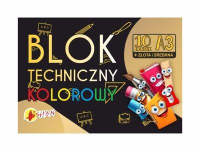 Blok techniczny kolorowy 10 ark + złota srebrna A3