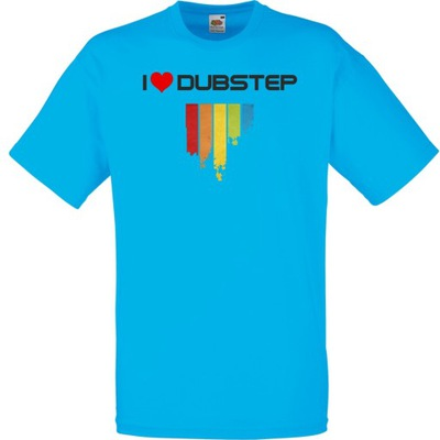 Koszulka z nadrukiem dubstep dub XXL lazurowa