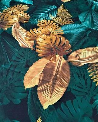 Bieżnik palma liść dżungla monster złoto 50x140