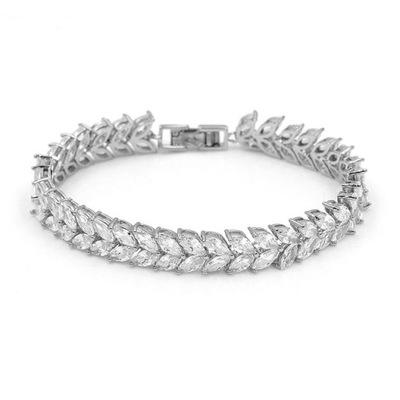 Bransoletka srebrna cyrkonie ślub kryształki
