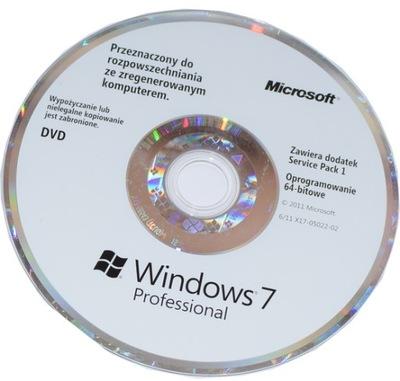 NOWY dysk nośnik DVD płyta Windows 7 PRO PL 64BIT