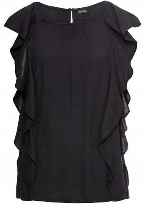 Bluzka damska elegancka czarna z falbankami 38