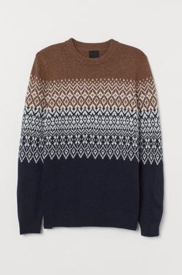 H&M 36 S MĘSKI Sweter ŻADARDOWY Z WEŁNA