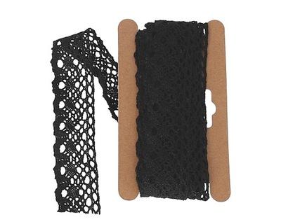 Koronka bawełna ażurowa 25mm/4,5 mb KRB146 czarna