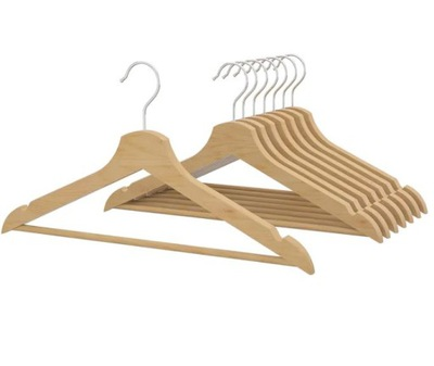 IKEA BUMERANG wieszaki drewniane naturalne - 8 szt