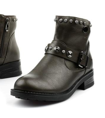 Brązowe botki damskie saszki buty D18-6692 40