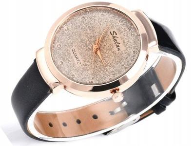 Damski zegarek CIENKI pasek złota tarcza A242 czar