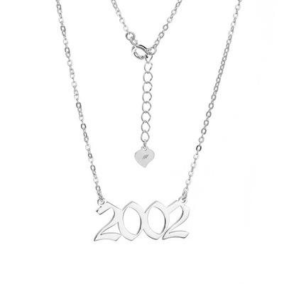 Naszyjnik srebrny Ag 925 z DATĄ urodzenia 2002