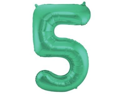 Balon matowy cyfra 5 zielona pięć 86cm