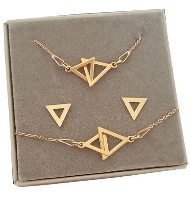 Złoty komplet CELEBRYTKA trójkąt srebro 925