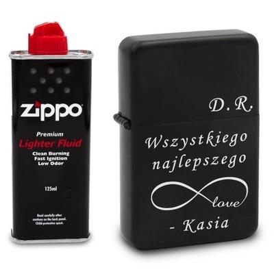 Зажигалка бензиновая черная с гравировкой + Zippo