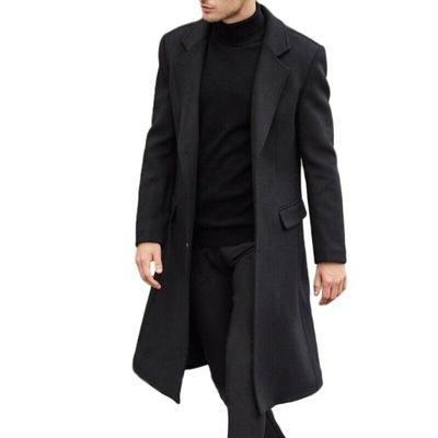 Męski Modny Długi Trencz Płaszcz z klapami