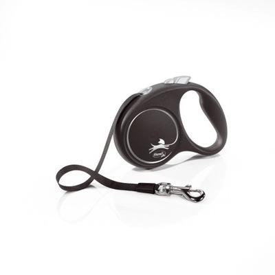 Smycz FLEXI Black Design czarna M 5m do 25kg Taśma
