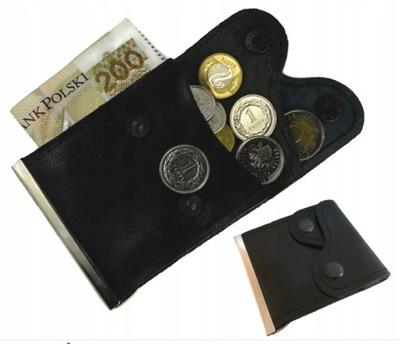 Etui Na Banknoty Banknotówka Skórzana Czarna Mała