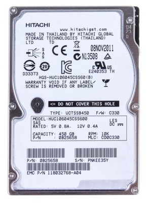 HITACHI 450GB 10K 64MB SAS-2 2.5'' HUC106045CSS600