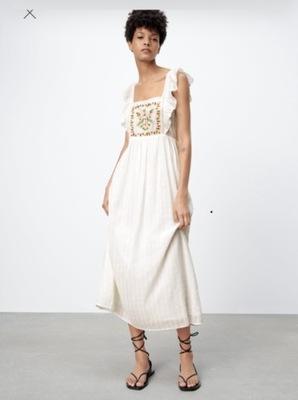 Zara blog biała śliczna letnia sukienka M