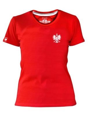 Czerwona Koszulka POLSKA Orzeł Biały Damska Mecz
