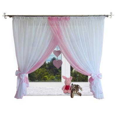 Firana dla dzieci z serduszkami szary różowy niebi