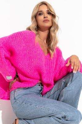 Piękny sweter krótki oversize Fobya F1256 34/36 S