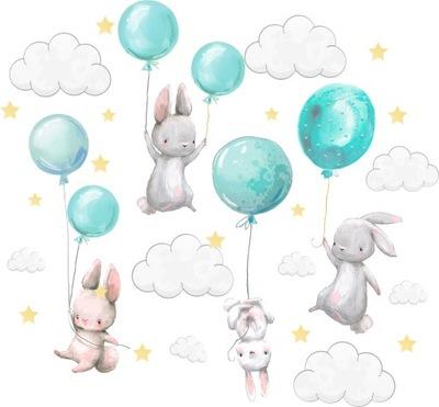 Samolepky na stenu Zajačiky balóniky pre deti 100 2