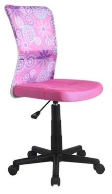 Fotel obrotowy młodzieżowy DINGO różowy tkanina