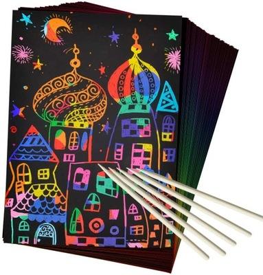 50 sztuk Rainbow Magic Black Scratch Paper