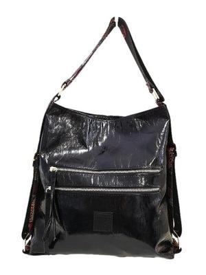 EGO torba shopper worek czarna lakierowana