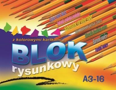 Blok rysunkowy A3 16k. kolorowy Kreska