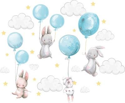 Samolepky na stenu Zajačiky balóniky pre deti 150 4