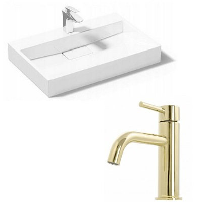 Umývadlo Goya White 50 + faucet Lungo L. Gold