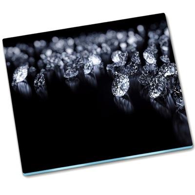 доска ??? разделочная доска стеклянная Алмазы Черный - 60x52