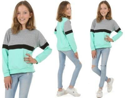 Bluza dresowa dla dziewczynki - 128 MIĘTA