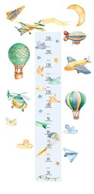 наклейка мерка РОСТ воздушные шары, самолеты, ракеты