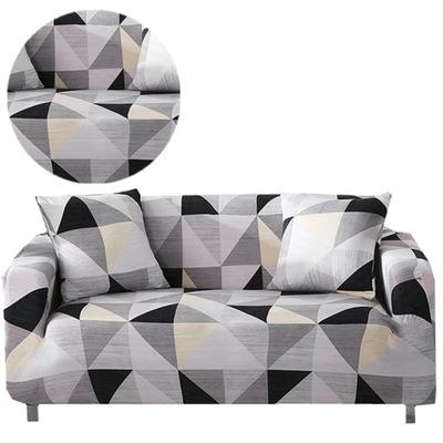 Geometryczna narzuta na sofę 90-140cm + 1Poszewka