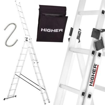 HIGHER Drabina aluminiowa 3x10 Profesional +GRATIS