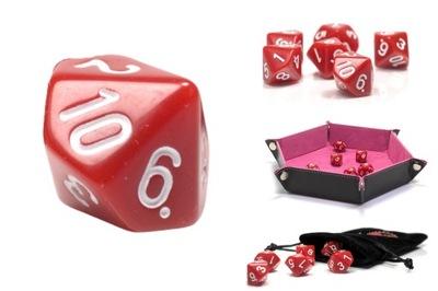 KOŚĆ KOSTKA DZIESIĘCIOŚCIENNA RPG K10 CZERWONA