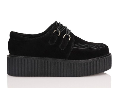 Creepersy skórzane buty damskie SMITHS czarne 36