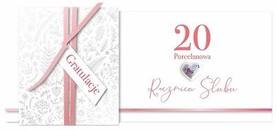 Kartka na 20 Rocznicę Ślubu Porcelanową Lux KP58