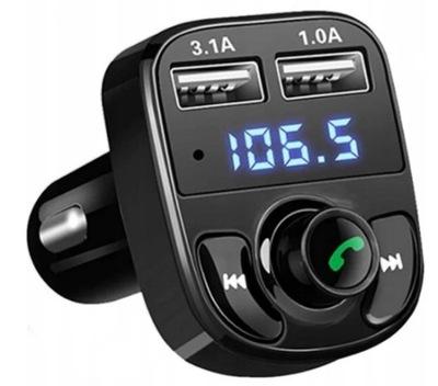 TRANSMITER BLUETOOTH FM 2xUSB ŁADOWARKA MP3 SD A14