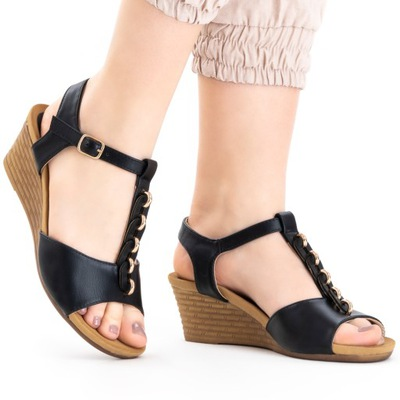 Sandały damskie koturn zgrabne lekkie Niki