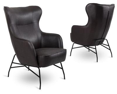 Wygodny fotel uszak eko skóra czarny vintage salon