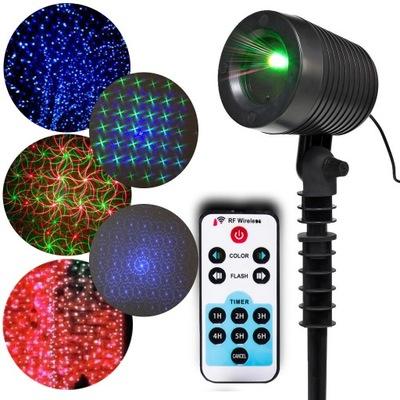 Laserový projektor 3 FAREBNÉ LASEROVÉ PROJEKTOR IP65 MODRÁ diaľkové ovládanie