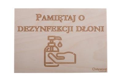 ZDEZYNFEKUJ DŁONIE - Tabliczka Drewniana - OW
