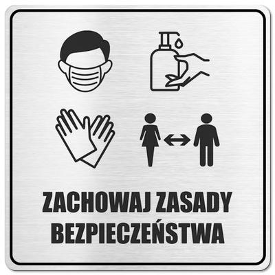 Tabliczka Dezynfekcja Włóż maskę, rękawiczki WIRUS