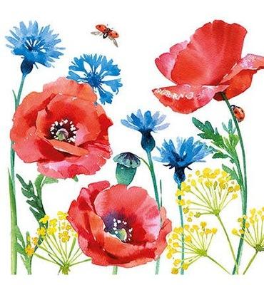 Салфетка ??? декупаж 33х33см - маки цветы полевые