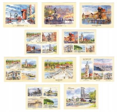 TRÓJMIASTO Gdańsk Gdynia Sopot pocztówki 10 szt