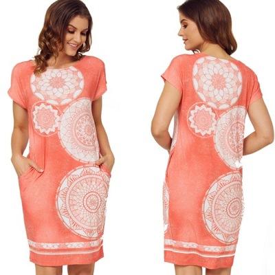 ALEKS - NINA koral sukienka zwiewna dzianina 46