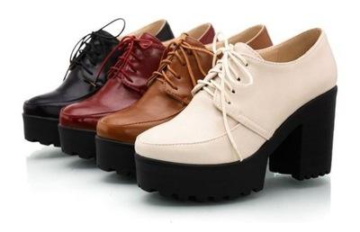 Krótkie buty na platformie skóra modne 4 kolory 38