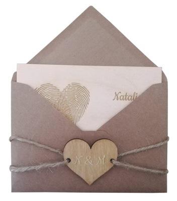 Rustykalna drewniana kartka na ślub i inne okazje