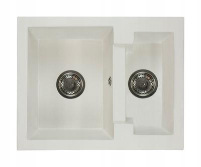 Žulové umývadlo 2 komory, jeden a pol BIELY sifón
